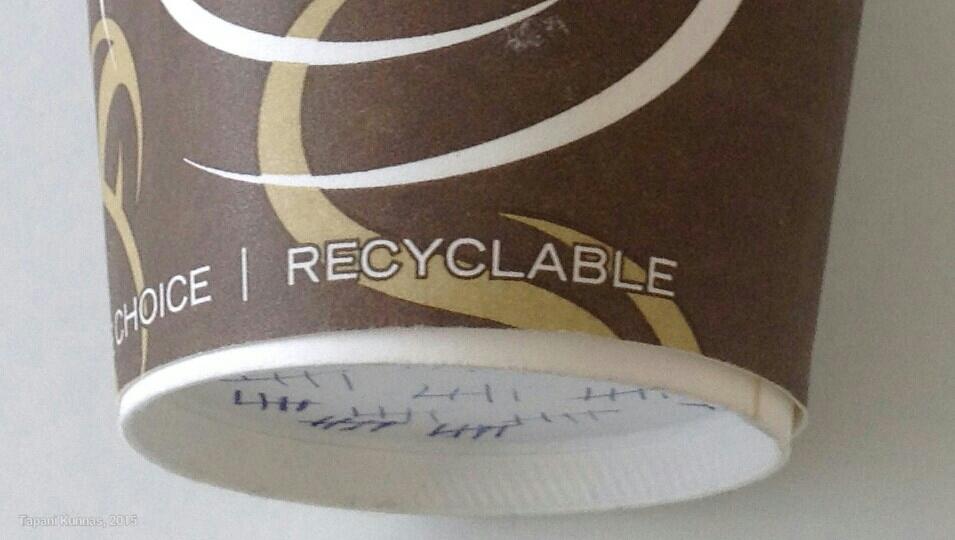 Turhan usein kierrätyskelpoinen tuote kierrätetään yhden käyttökerran jälkeen jätteeksi.
