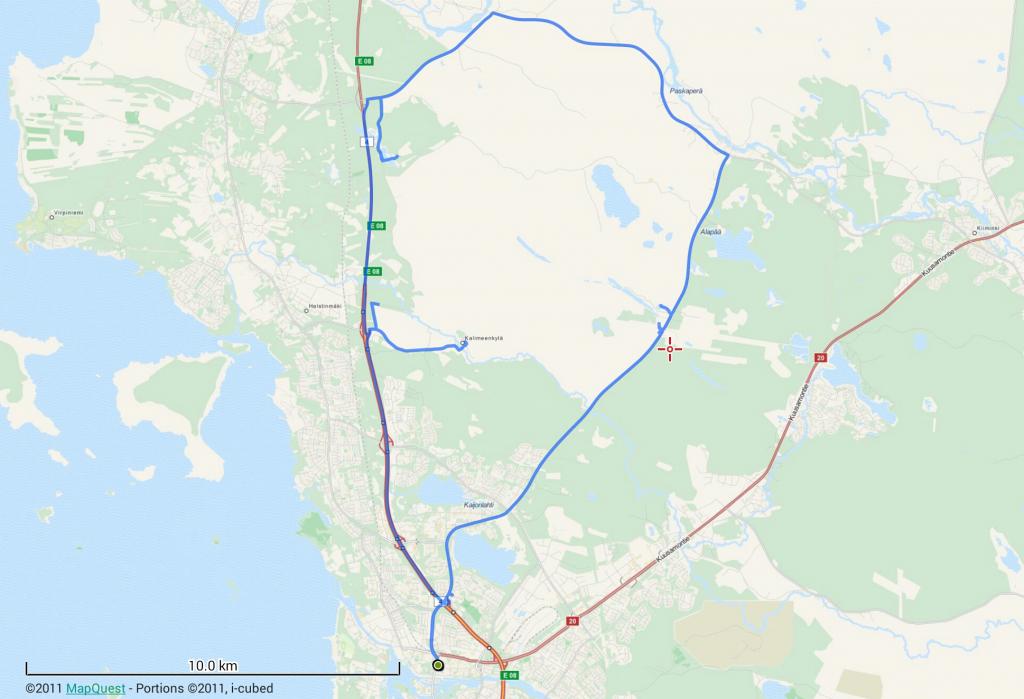 55 km autolla, 4 km kävellen. Ei mikään varsinainen ekoretki siis.