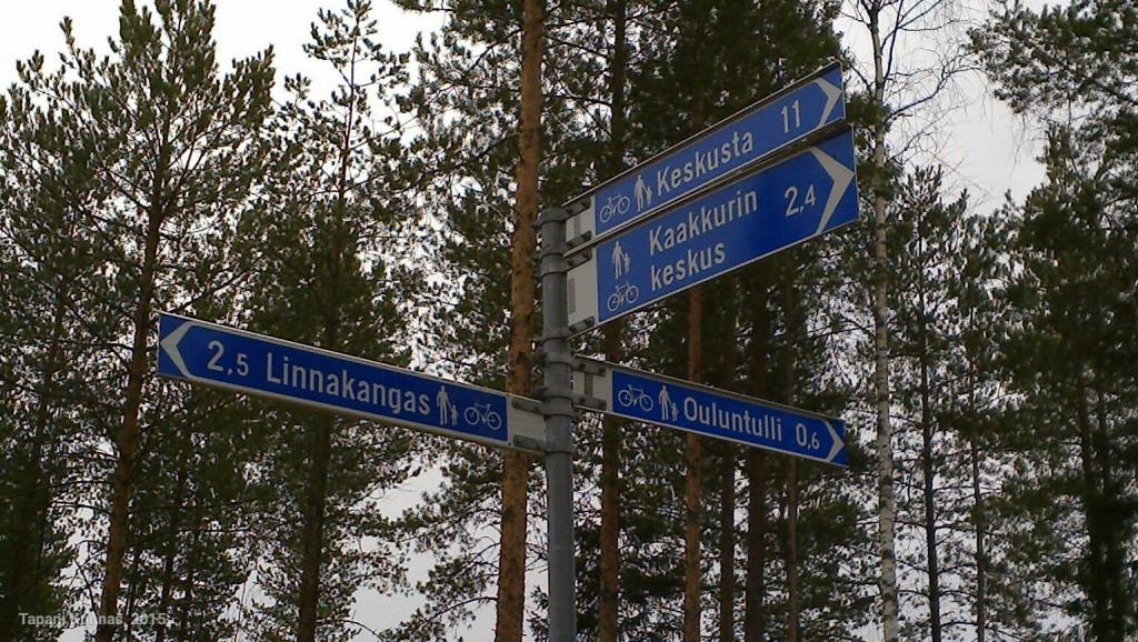 Oulu on pyöräilykaupunki ja siten väylät on viitoitettu enimmäkseen asianmukaisesti.