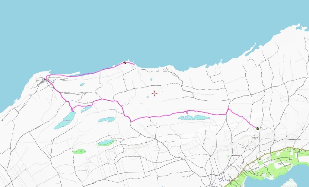 Toisen päivän reitti (12,6 km).