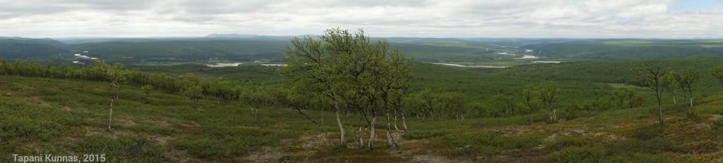 Inari/Tenojokilaakso Meađđenvárrin lounaispuolella olevalta huipulta kuvattuna.