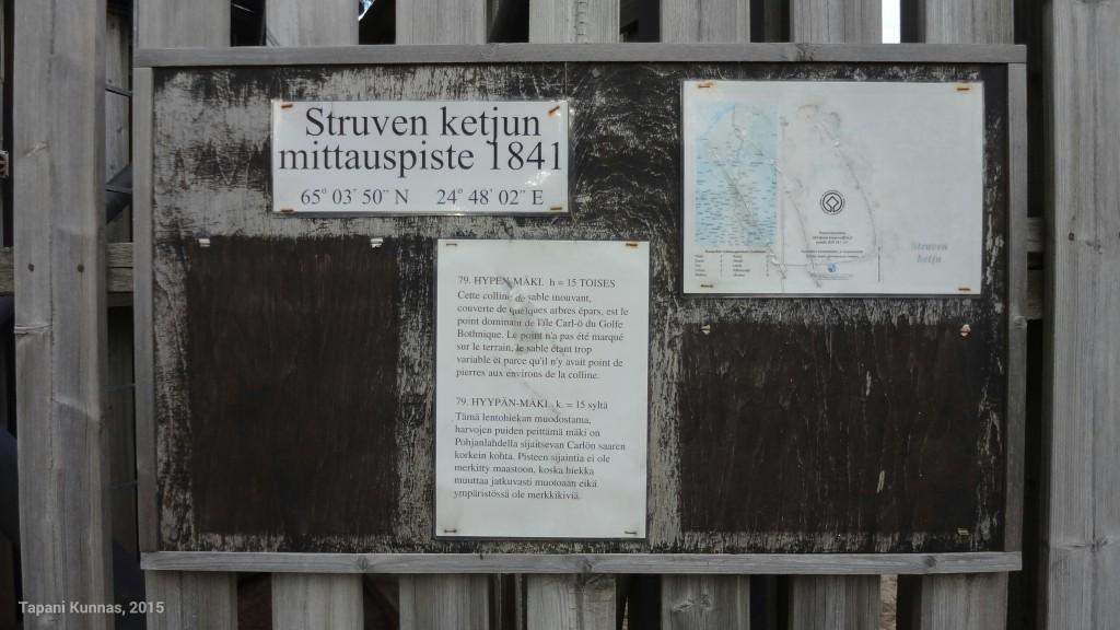 Tietoja Hyypänmäen kolmiopisteestä ja sen osuudesta Struven ketjuun.