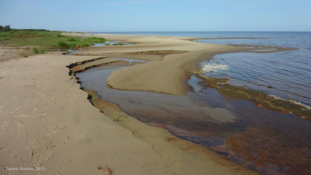Lähisuolta mereen virtaavan puron kovertamaa rantahiekkaa.