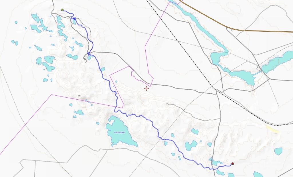 Lauantain reitti (18,5 km).