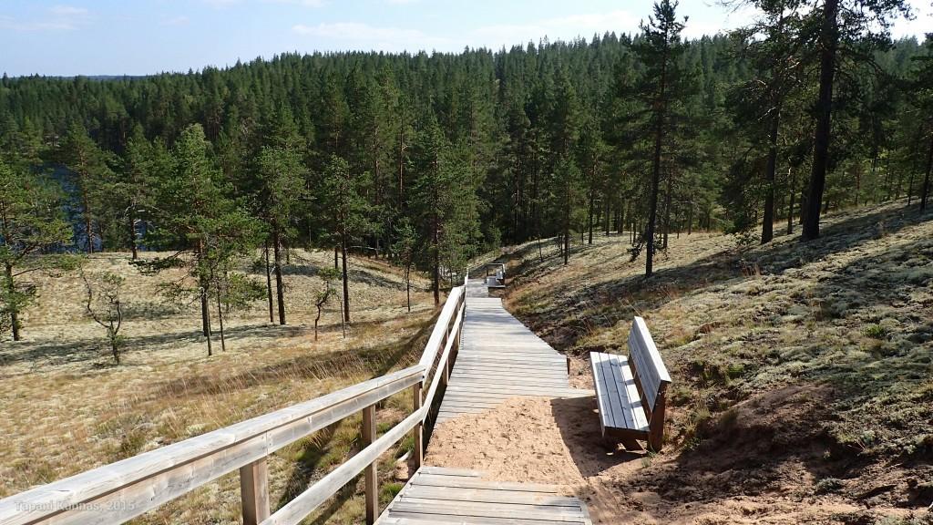 Portaat Loukkojärven rantaan. Ollaan kansallispuiston alueella.