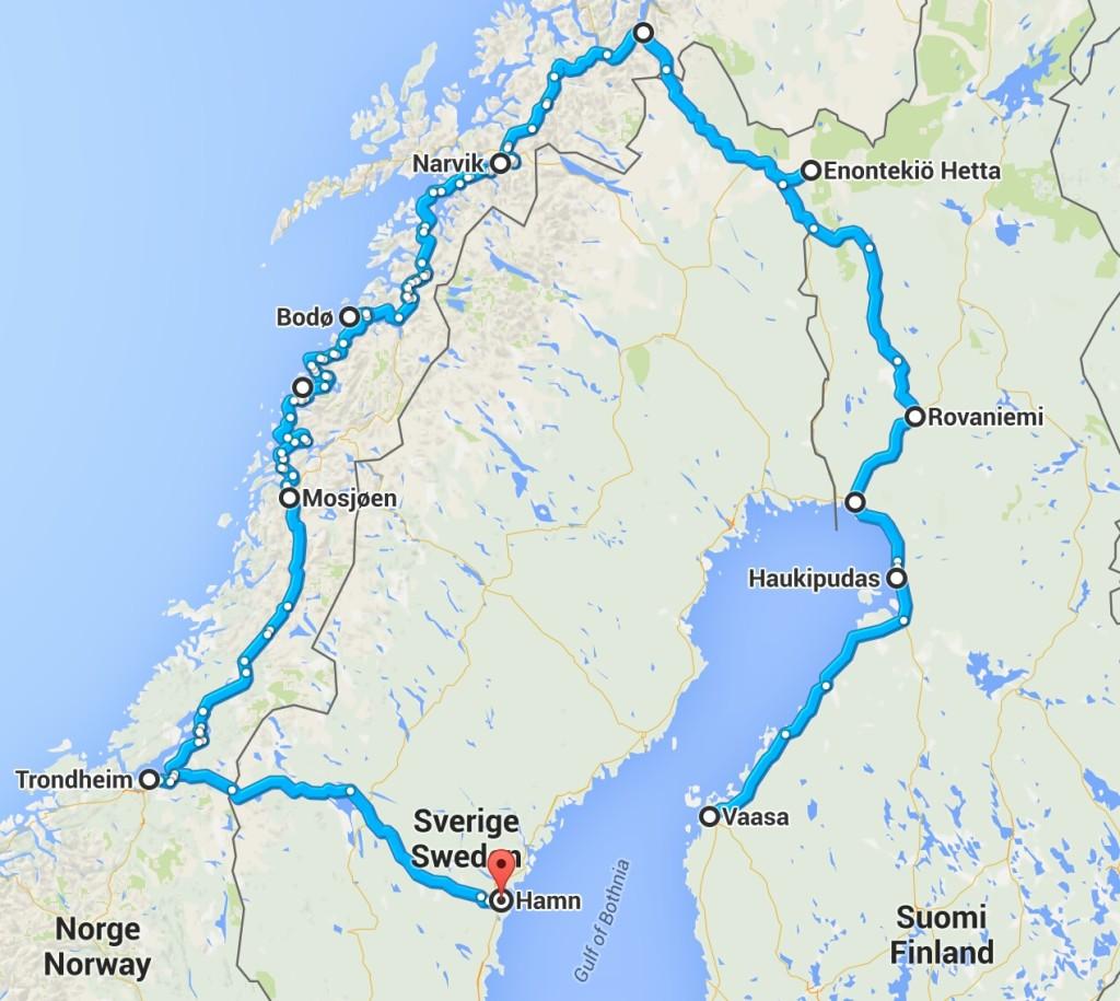 Matkareitti. Alku- ja päätepisteenä Haukipudas 20 kilometriä Oulusta pohjoiseen.