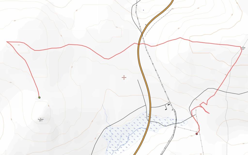 Toisen päivän reitti (5,2 km).