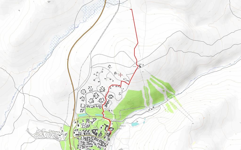 Kolmannen päivän reitti (3,6 km). Reittiviiva on piirretty käsin, koska GPS-loggerini jätti jälleen viimeisen päivän reitin tallentamatta. Täytyy jatkossa tehdä nämä reittikartat toisin.