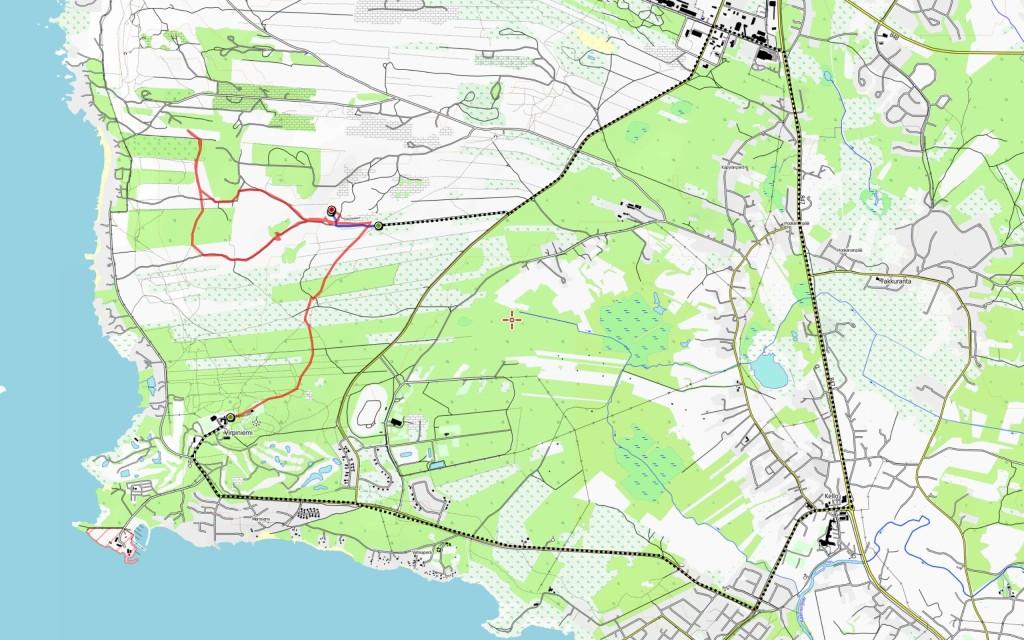 Maanantain reitti. Aamulla 0,45 km; autolla ajettu matka mustalla katkoviivalla, iltapäivän ja illan reitti 6,9 km.
