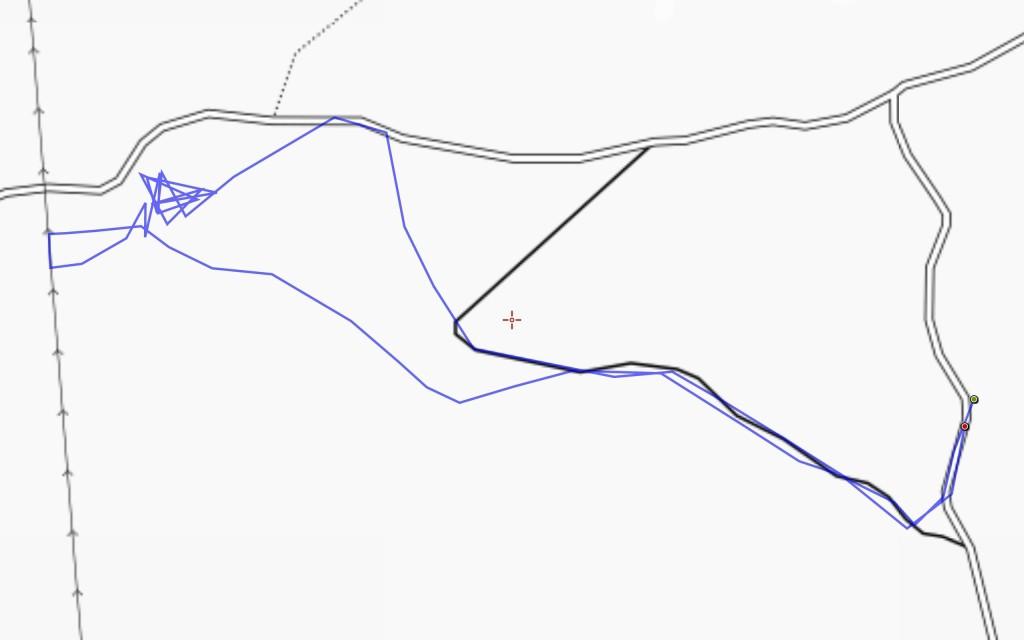 Tämä reittikartta ei ole erityisen informatiivinen, mutta videoinnin vaatiman edestakaisin liikkumisen aiheuttama syherö on kyllä aika hassu.