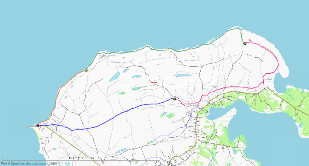 Viimeisenkin retkipäivän reitti kartalla. Kokonaismatka 10 + 12 + 13 + 5 = 40 km.