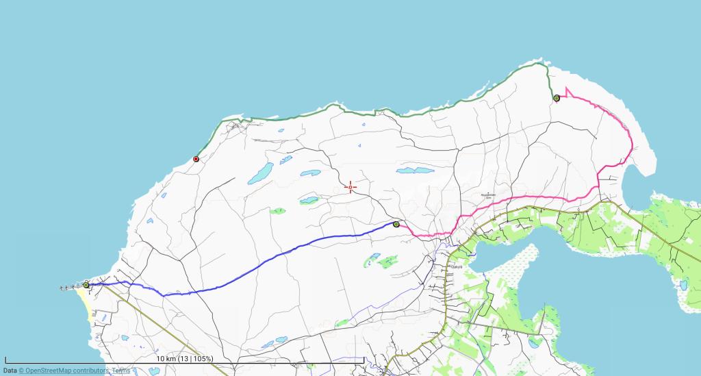 Ensimmäisen, toisen ja kolmannen päivän retkireitit (10 km, 12 km ja 13 km).