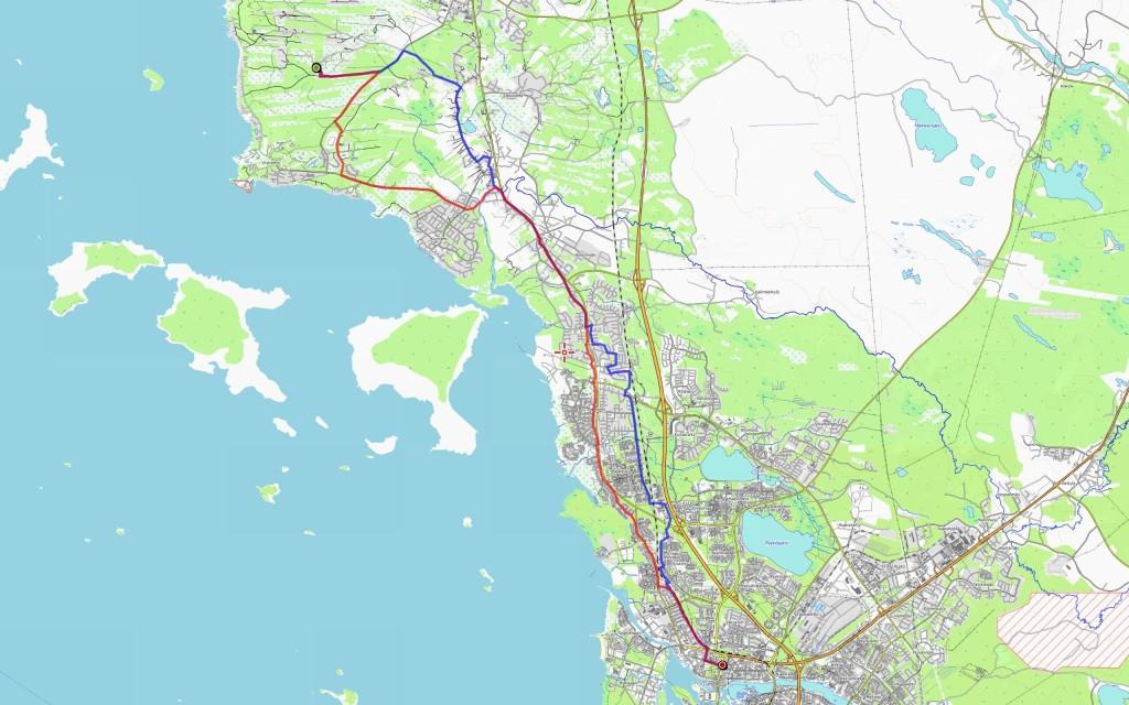Menomatkan reitti (23 km) sinisellä, paluumatkan (24 km) punaisella.