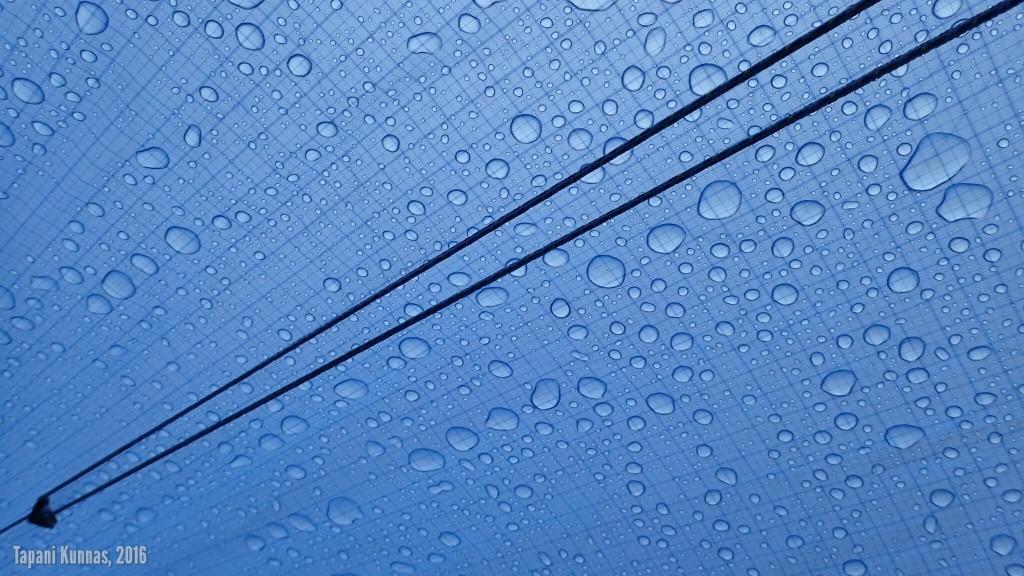 Sadepisaroita Erämaakaksion katolla alhaaltapäin kuvattuna.