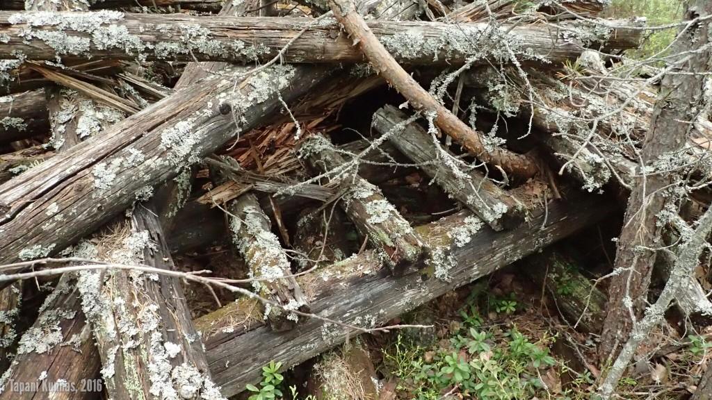 Kolmiomittaustornin raunioita. Tikkaiden jäännökset ovat tästä tunnistettavissa.