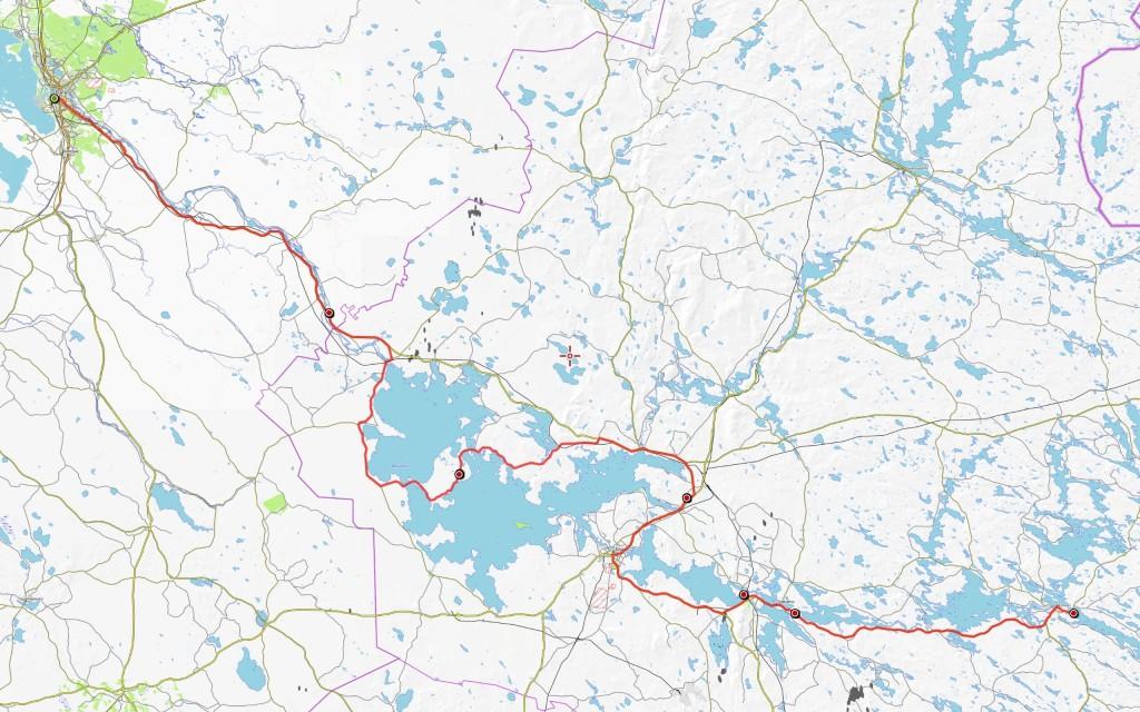 Ajoreittini kokonaisuudessaan. Päivämatkat 87 km, 72 km, 67 km, 58 km, 14 km ja 65 km. Kotiinpaluupäivänä ajoa tuli vielä 13 km, joten matkan kokonaisajomatkaksi tuli 375 kilometriä.