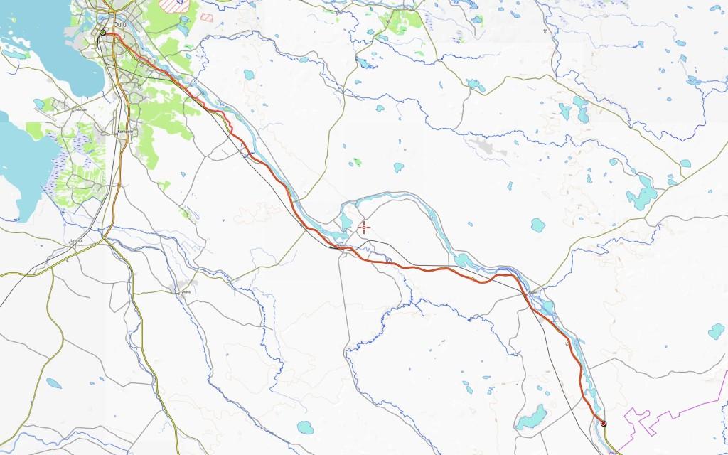 Ensimmäisen päivän reitti (päivän kokonaisajomatka 87 km).