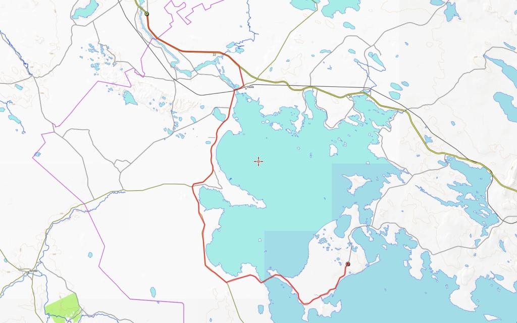 Toisen päivän reitti (päivän kokonaisajomatka 72 km).