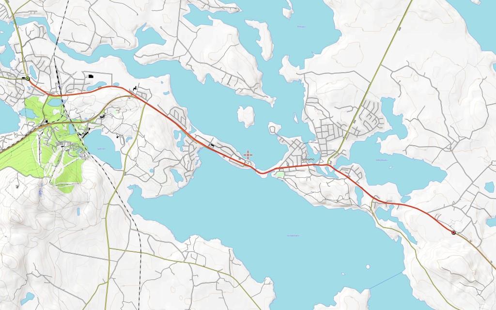 Viidennen päivän reitti (päivän kokonaisajomatka 14 km).