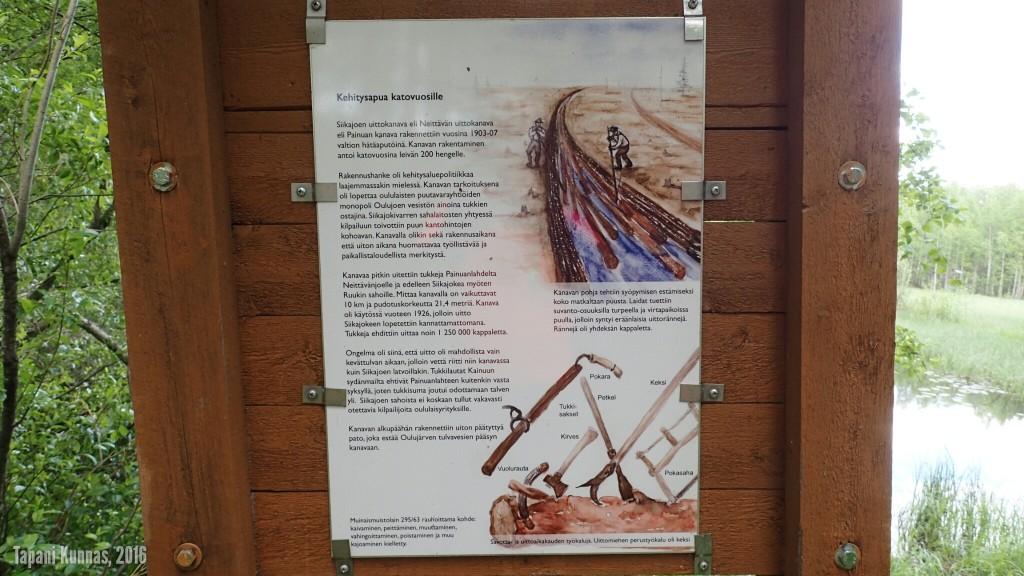 Siikajoen uittokanavan tarkempi opastaulu kanavan alkupäässä.