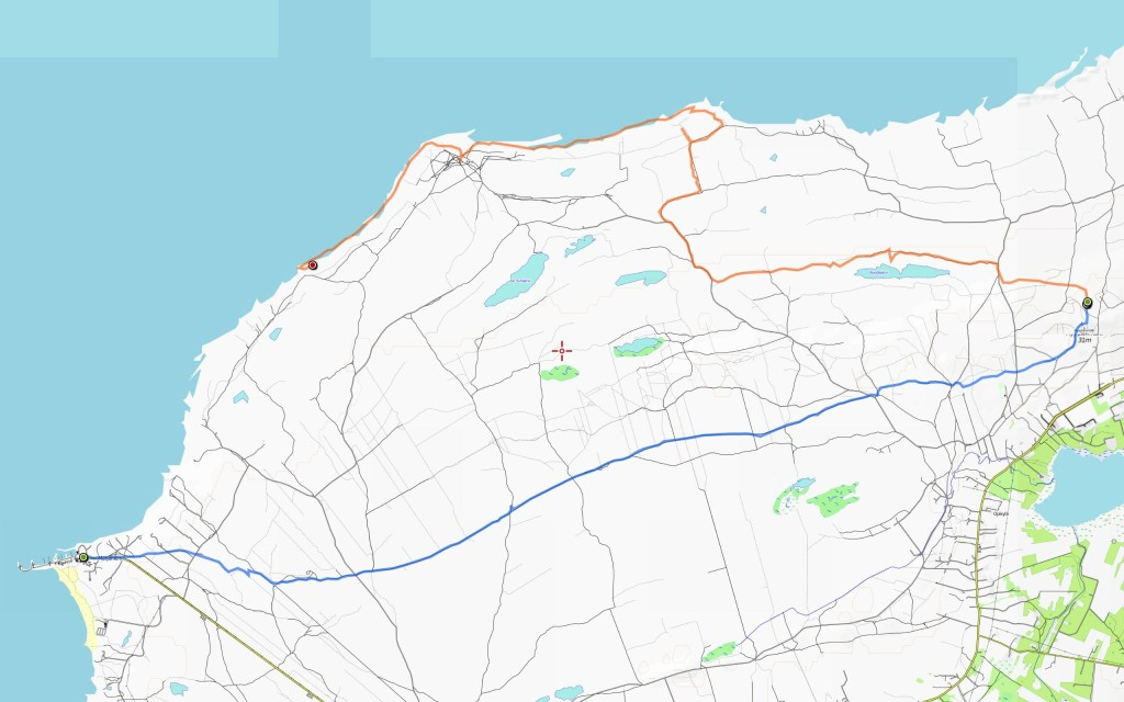 Lauantain reitti (13,9 km) edellisen jatkona.