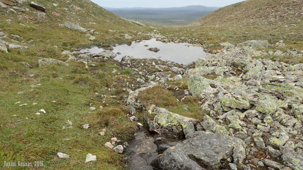 Gaskkamušalášin ja Davimušalášin välisessä laaksossa oleva puro, joka katoaa etualalla olevan osuuden jälkeen maan sisään ja nousee pintaan uudelleen takana näkyvän pienen lämpäreen pohjasta.