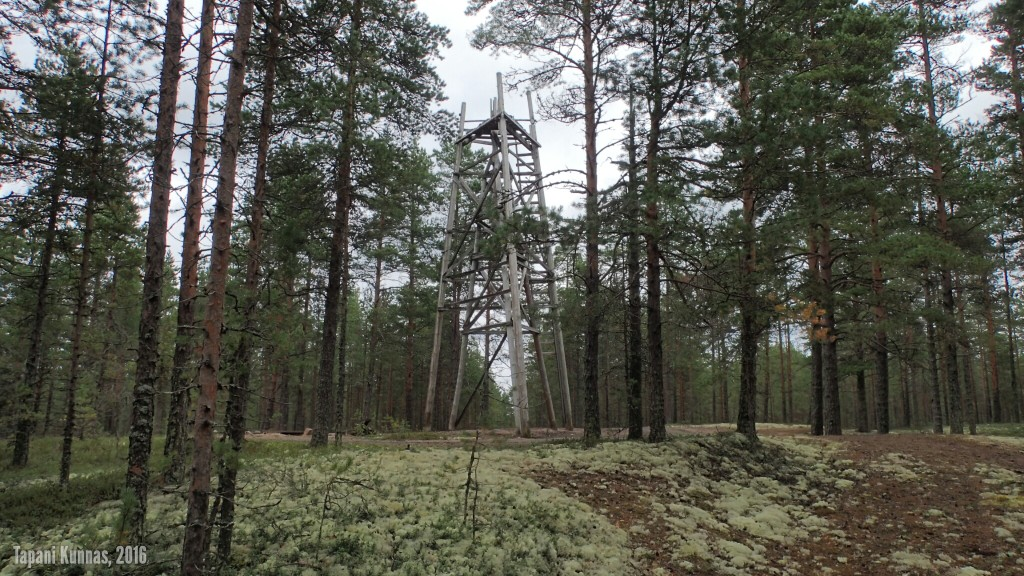 Sisäkkäiset kolmiomittaustornit 17.4 metrin korkeudessa olevan kolmiopisteen päällä.