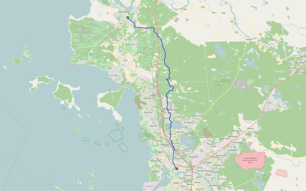 Kävelyreitti, 23 km.