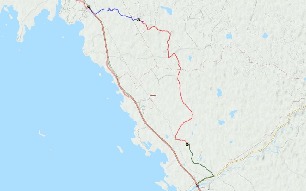 Sunnuntain reitti (4,7 km) edellisten jatkona.