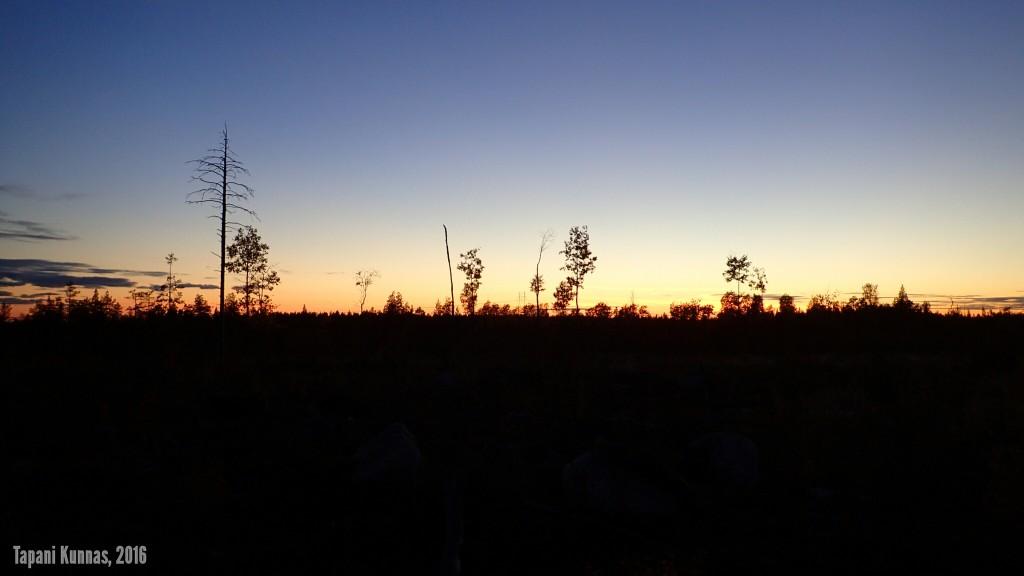 Aurinko on mennyt nukkumaan ja kirkas taivas enteilee kylmää yötä.