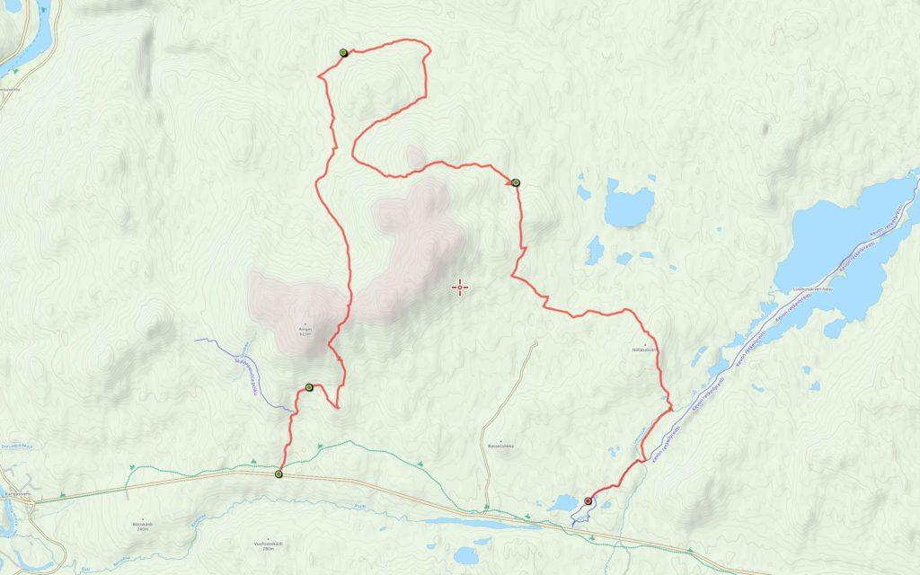 Keskiviikon reitti (9,6 km) edellisten jatkona.
