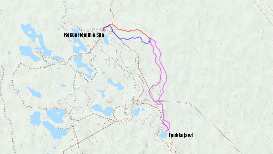 Reittini. Perjantai (2,0 km) sinisellä, lauantai (6,5 km) violetilla ja sunnuntai (1,7 km) punaisella.