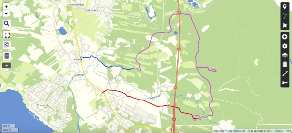 Retken reitti: keskiviikko (2,3 km) sinisellä, torstai (10,9 km) violetilla ja perjantai (3,7 km) punaisella.