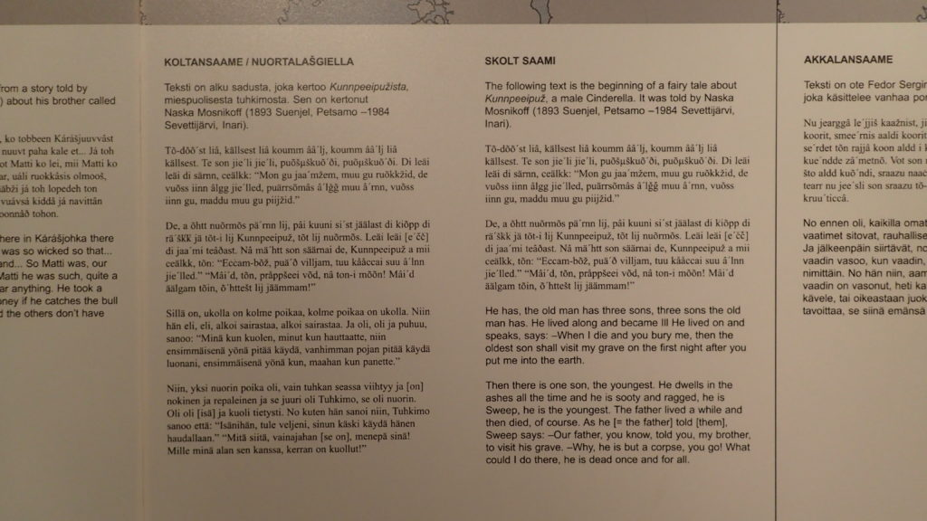 """Kolttasaamen esittelytekstissä on mielenkiintoinen yksityiskohta. Sadun kertojaksi mainitaan Naska Mosnikoff, syntynyt 1893. Arto Paasilinnan kirjassa """"Hirtettyjen kettujen metsä"""" vuodelta 1983 esiintyy 90-vuotias kolttavaimo nimeltä Naska Mosnikoff. Sattumaa?"""
