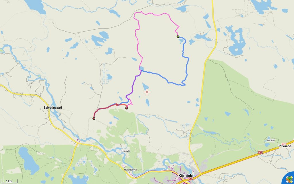 Reittini. Lauantain osuus (13,1 km) sinisellä, sunnuntai (12,4 km) violetilla ja maanantai (3,1 km) punaisella.